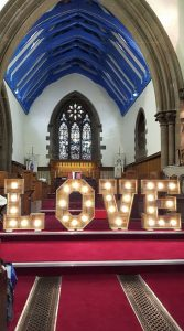 Rustic Light Up Love letters church